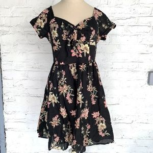 Forever 21 skater dress black pink floral L NWOT